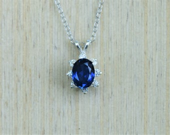 Sapphire Necklace, Sapphire Halo Necklace, Silver Sapphire, Blue Sapphire, Wedding Necklace, September Birthstone Necklace