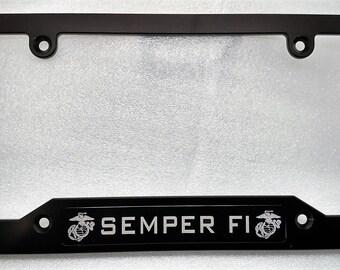 Clear Anodized,Black Badges MARINES SEMPER FI Billet Alum License Plate Frame