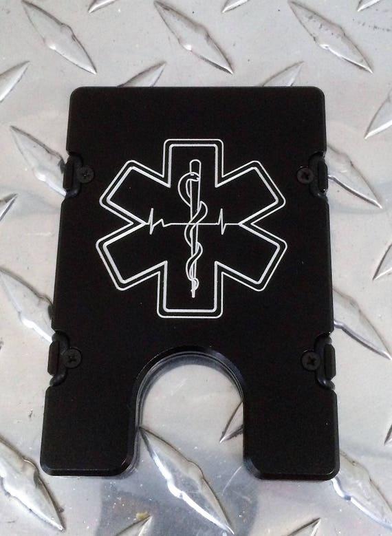Billet Aluminum Wallet//Credit Card Holder Paramedic RFID protection Red