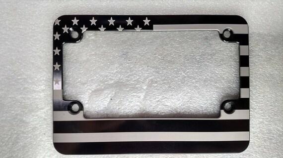 Slim Line AMERICAN FLAG Billet License Plate Frame Black Anodized