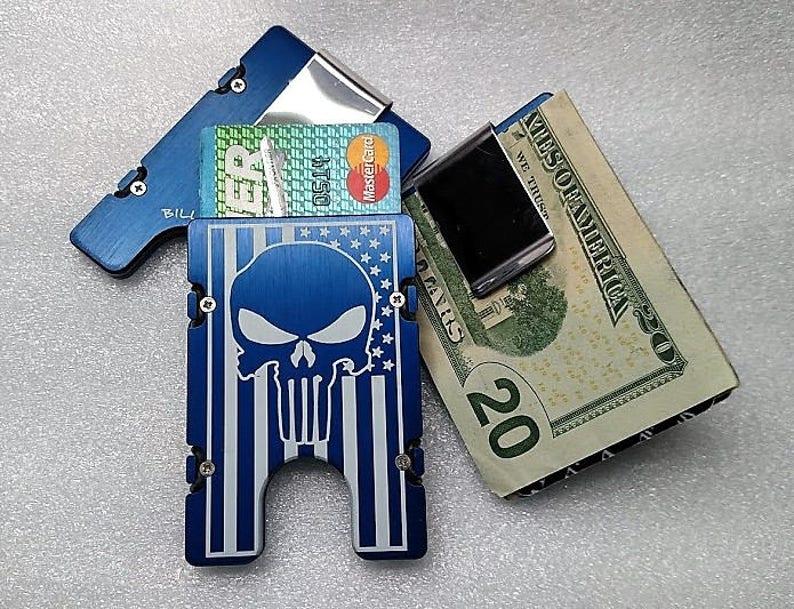 RFID protection AMERICAN FLAG PUNISHER BilletVault Aluminum Wallet Black