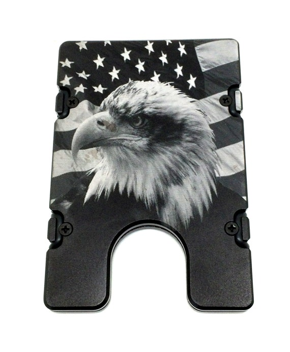 American Flag With Eagle Aluminum Wallet//Credit Card Holder RFID Protection