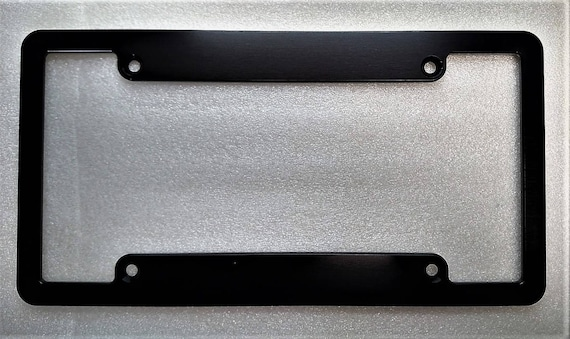& Blank Double Billet Aluminum License Plate Frame Black