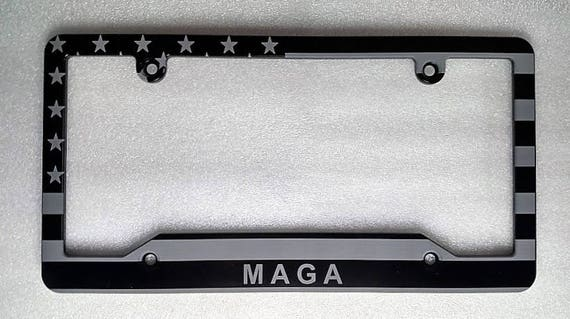 Make America Great Again Billet Aluminum License Plate Frame AMERICAN FLAG,MAGA