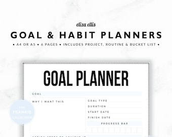 GOAL PLANNERS / Habit Tracker / 2018 Planner / Project Planner / Routine Chart / Checklist / Goals / The Frankie Planners in Mist / 423