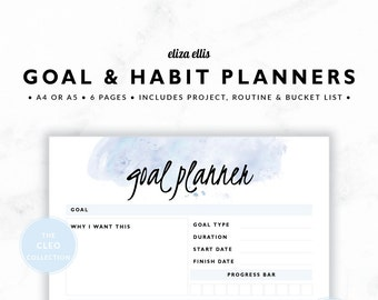 GOAL PLANNERS / Habit Tracker / 2018 Planner / Project Planner / Routine Chart / Checklist / Goals / The Cleo Planners in Nimbus / 423