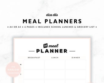 MEAL PLANNERS / Weekly Meal Planner / 2018 Planner / Dinner Planners / Printable Meal Planners / The Harlow Planners in Perfume / 417