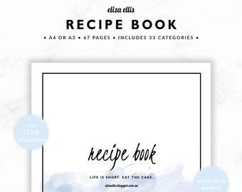 RECIPE BOOK / Recipe Planner / 2018 Planner / Recipe Printable / Recipe Pages / Recipe Journal / Recipe  / The Cleo Planners in Nimbus / 421