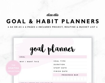 GOAL PLANNERS / Habit Tracker / 2018 Planner / Project Planner / Routine Chart / Checklist / Goals / The Agatha Planners in Petal / 423