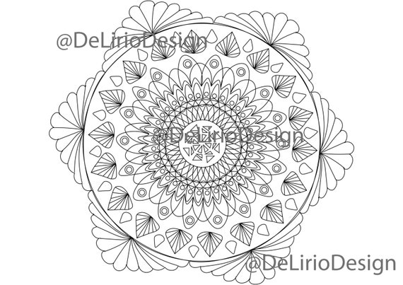 Mandala Flower Coloring Pages For Adults Hand Drawn Adult Coloring Page Print Download