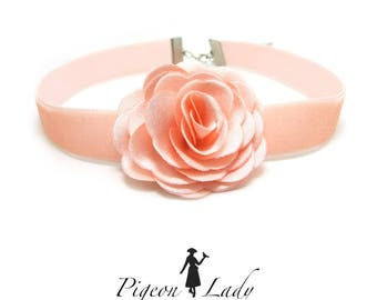 5/8 Inch Pink Velvet Choker|Necklace Accessory|Rose Flower Decor|Simple Thin Choker