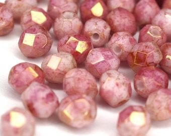 Czech Fire-polished faceted glass beads DIY glass cut 4 mm 50 Matte Metallic Silver Bohemian Pearls 4 mm