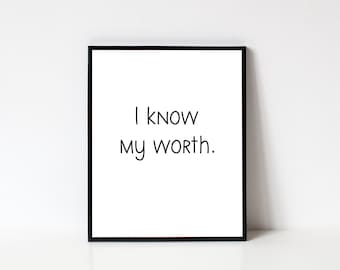 My Worth Quote Etsy