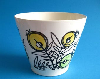 Dutch Mid-Century Modern Petrus Regout Planter Pot 1960's Yellow Green Flowers Cream Hand Decorated Holland