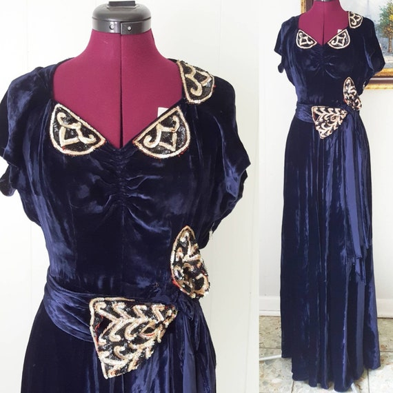 60s does 30s Blue Silk Velvet Gown Reproduction W… - image 1