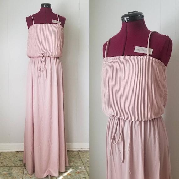 70s Dusty Rose Pink Luminescent Maxi Dress