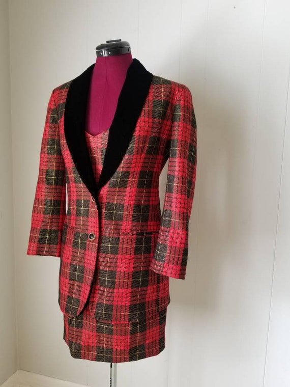 80s Anne Klein Red Plaid Dress Suit -  Matching D… - image 7