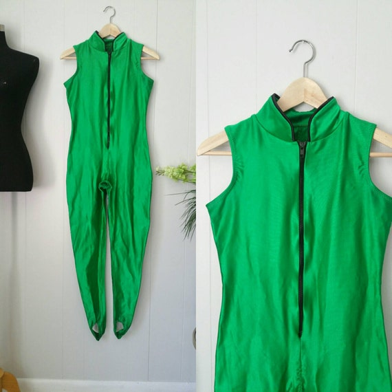 Green Vintage Disco Spandex Unitard Bodysuit with