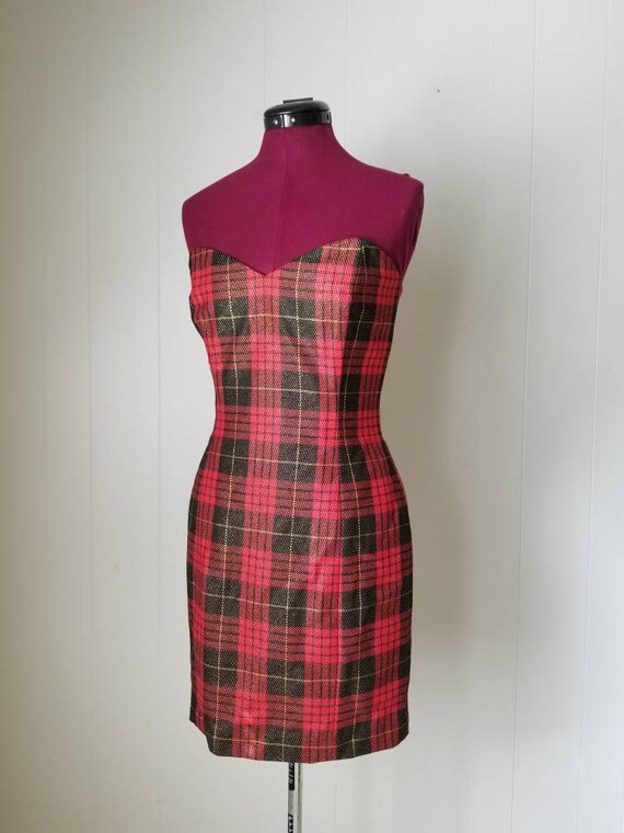 80s Anne Klein Red Plaid Dress Suit -  Matching D… - image 5
