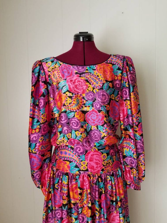 80s Silk Pop Art Colorful Dress Western Maggie Lo… - image 2