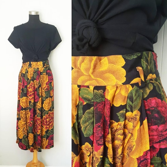 Jones New York 80s 90s Floral Skirt Black Amber and Red | Labeled Size 16  Plus Size