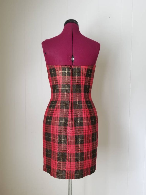 80s Anne Klein Red Plaid Dress Suit -  Matching D… - image 6