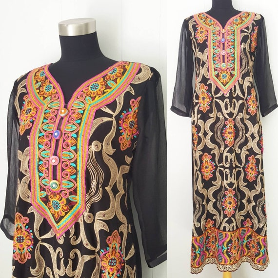 Colorful Ornate Embroidered Silk Kaftan