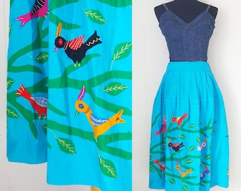 70s Blue Folk Art Quilted Skirt with Colorful Birds and Branches