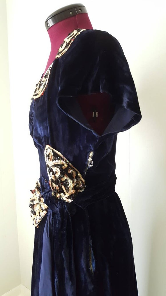 60s does 30s Blue Silk Velvet Gown Reproduction W… - image 3