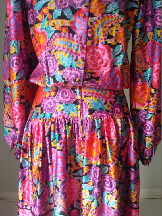 80s Silk Pop Art Colorful Dress Western Maggie Lo… - image 3