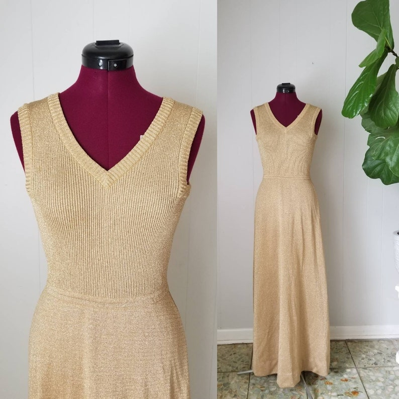 d7cd32d12 70s Gold Metallic Knit Maxi Dress Stretchy Sparkly Disco | Etsy