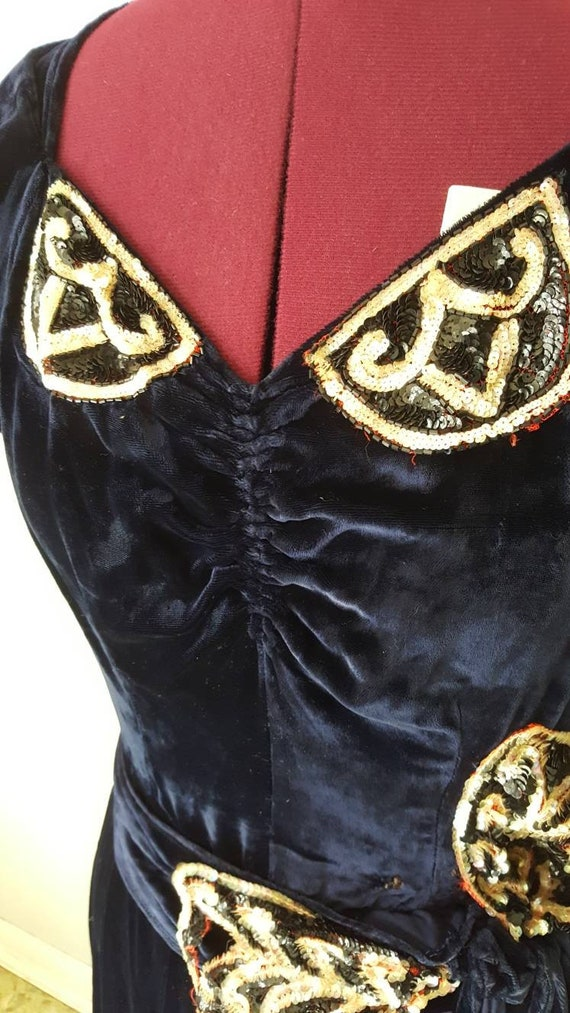 60s does 30s Blue Silk Velvet Gown Reproduction W… - image 8