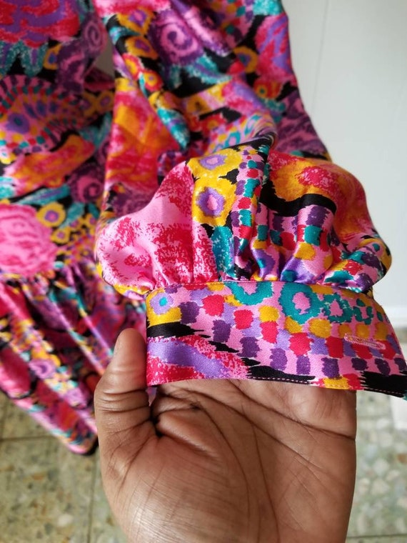 80s Silk Pop Art Colorful Dress Western Maggie Lo… - image 4