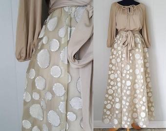 70s Lilli Diamond Taupe and Silver Metallic Polka Dot Dress Gown