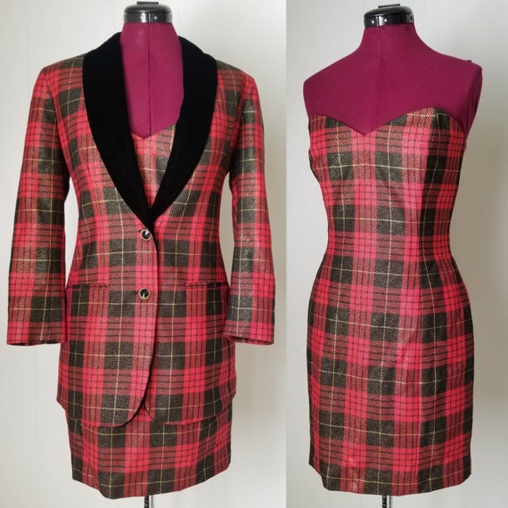 80s Anne Klein Red Plaid Dress Suit -  Matching D… - image 1