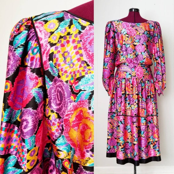 80s Silk Pop Art Colorful Dress Western Maggie Lon
