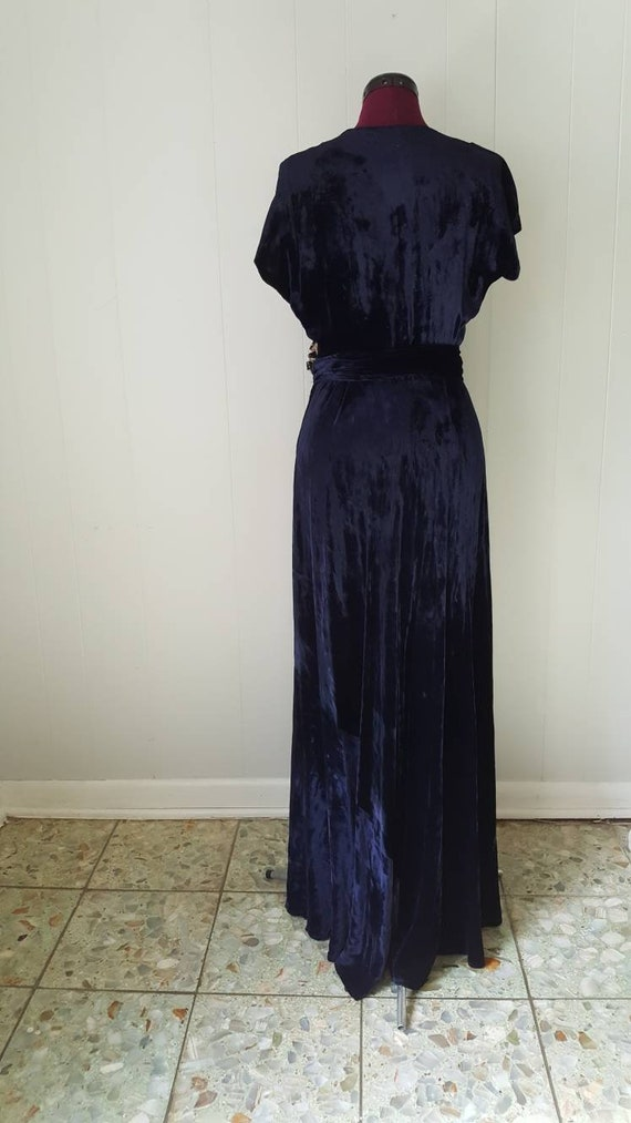 60s does 30s Blue Silk Velvet Gown Reproduction W… - image 9