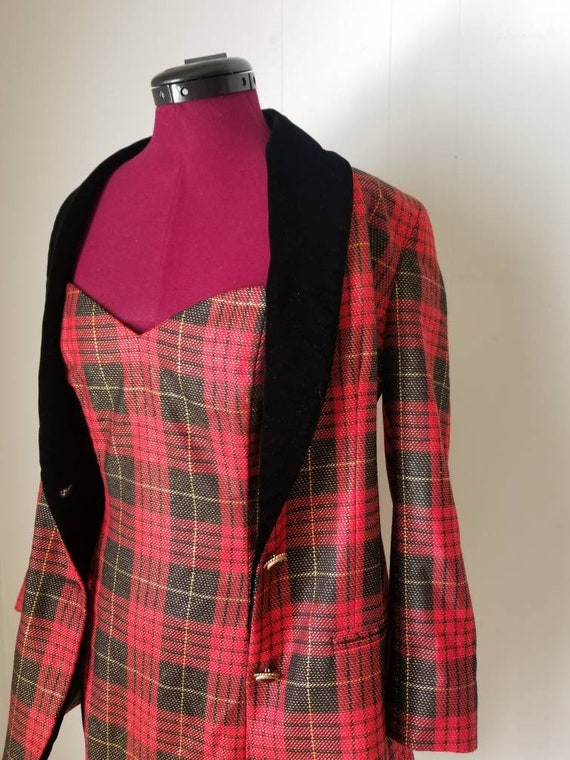 80s Anne Klein Red Plaid Dress Suit -  Matching D… - image 8