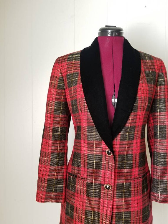 80s Anne Klein Red Plaid Dress Suit -  Matching D… - image 2
