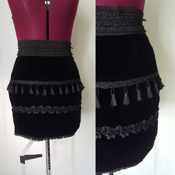 90s Designer Mark Wong Nark Black Velvet Lace and
