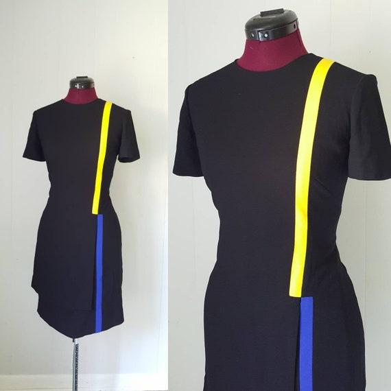 90s Liz Claiborne Dresses Black Mod Color Block Dr