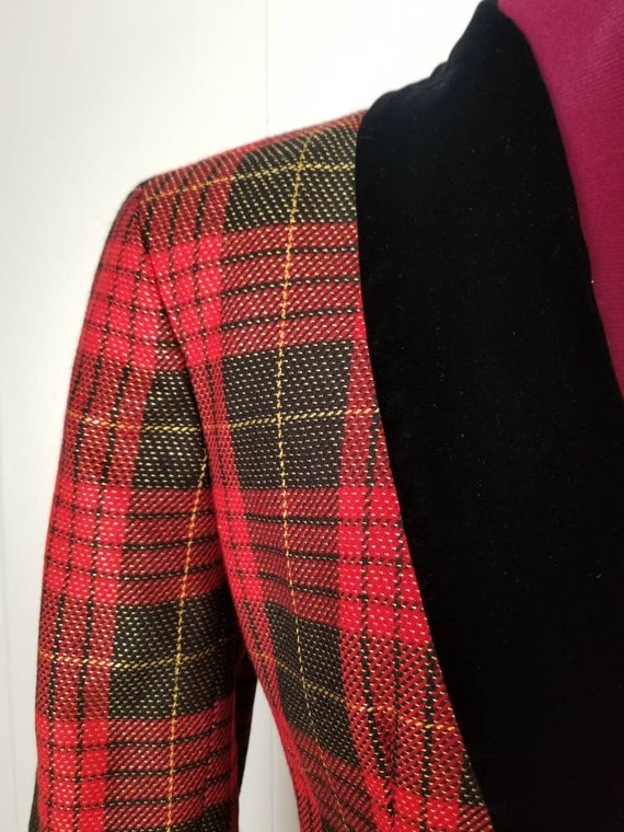 80s Anne Klein Red Plaid Dress Suit -  Matching D… - image 3