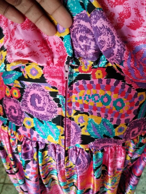 80s Silk Pop Art Colorful Dress Western Maggie Lo… - image 5