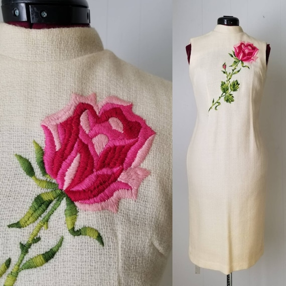 50s Cream Rose Embroidered Mandarin Cheongsam Dres