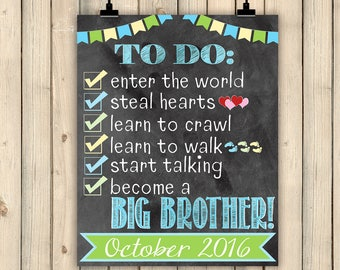 Easter Pregnancy Announcement, Checklist Chalkboard Pregnancy Sign, Big Brother To Do List, Promoted Big Brother, Baby Number #2 Digital