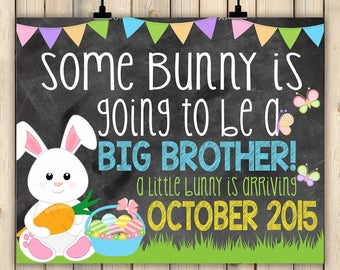Easter Pregnancy Announcement Chalkboard Printable Reveal Bunny Spring