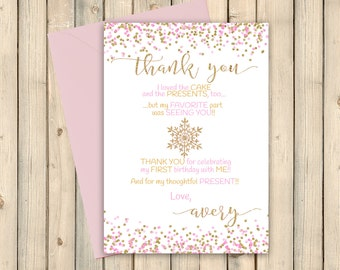 snowflake thank you card christmas gift thank you winter etsy