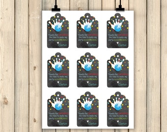 Bowling Party Favor Tag, Bowling Birthday Party Decor, Thank You Tags, Gift Tag, Chalkboard, Sparing Time, IncrediBOWL, Strike, Pins Digital