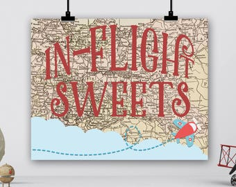 Vintage Travel Party Sign, In-Flight Sweets Sign, Airplanes Birthday, Adventure Awaits, Miss to Mrs Bridal Baby Shower Dessert Table Digital