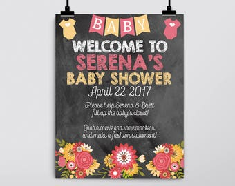 Onesie Decorating Sign, Design A Onesie Station, Baby Shower Game, Flowers, Bodysuit, Welcome Sign, Pink, Aqua, Yellow, Chalkboard, DIGITAL